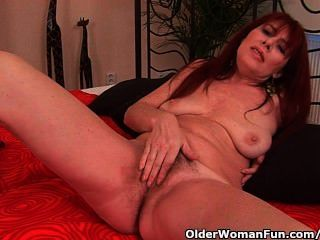Grandma With Hairy Cunt Enjoys A Hard Cock In Her Mouth And Pussy