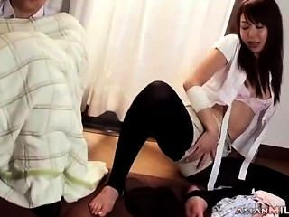 Milf Fingering Herself While Guy Sleeping On The Floor