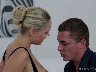 Dude With Strap On Double Penetration Fucking Blonde Wife