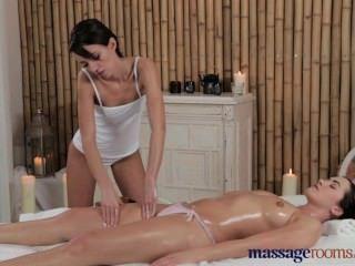 Massage Rooms Stunning Teen Lesbians Enjoy Oily Magic Wand Orgasms